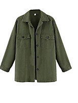 Women's Solid Black / Green Trench Coat,Street chic Long Sleeve Cotton