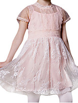 Girl's Pink / White Dress,Lace Polyester Summer / Spring