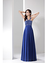 Formal Evening Dress-Royal Blue A-line Straps Floor-length Chiffon