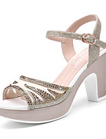 Women's Shoes Glitter Chunky Heel Heels/Peep Toe Sandals Wedding/ Office & Career/Party & Evening/Dress/Casual Pink/Gold
