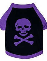 Chat / Chien T-shirt Blanc / Violet Printemps/Automne Crânes Mode, Dog Clothes / Dog Clothing-Pething®