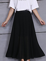 Women's Solid Blue / Pink / Beige / Black Skirts,Boho / Street chic Maxi