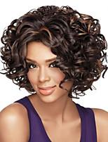 vrouwen afro bruin krullend synthetisch haar pruik