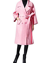 Women's Solid Pink Coat,Simple Long Sleeve Nylon