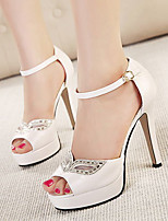 Women's Shoes Leatherette Stiletto Heel Peep Toe Sandals Dress White / Gold
