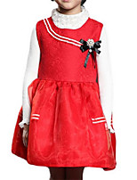 Girl's Dress,Polyester Spring / Fall Blue / Red