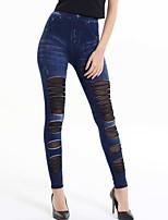 Women Solid Color / Stitching Lace Legging,Cotton Blends Medium