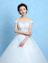 A-line Wedding Dress-White Floor-length Off-the-shoulder Lace / Satin / Tulle / Sequined