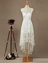 웨딩 드레스-아이보리(색상은 모니터에 따라 다를 수 있음) 시스/컬럼 비대칭 V 넥 레이스