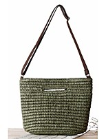Women Straw Shopper Shoulder Bag-Beige / Green / Brown