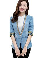 Women's Patchwork Casual Slim Denim Embroidery Blazer,Plus Size / Street chic Notch Lapel ½ Length Sleeve