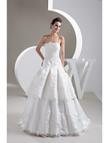 A-line Wedding Dress Sweep / Brush Train Strapless Satin with Appliques / Beading / Sash / Ribbon