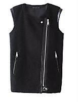 Women's Solid Black Jackets,Street chic Round Neck Sleeveless