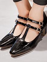 Zapatos de mujer-Tacón Robusto-Tacones / Punta Cuadrada / Punta Cubierta-Tacones-Oficina y Trabajo / Vestido-Semicuero-Negro / Rosa /