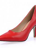 Calçados Femininos-Saltos-Saltos-Salto Agulha-Preto / Vermelho / Branco-Courino-Escritório & Trabalho / Social / Festas & Noite