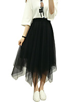 Women's Solid White / Black / Gray Skirts,Street chic Asymmetrical