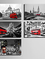 E-HOME® Stretched Canvas Art The Red Bus In European Cities Series Decoration Painting MINI SIZE One Pcs