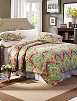 100% Cotton Floral Colourful 3 pieces Quilted Bedspread set