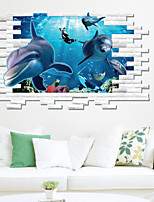 Animals Dolphin 3D Wall Stickers Cartoon Wall Decals Landscape / Shapes / 3D Wall Stickers 3D Wall Stickers,pvc 70*100cm