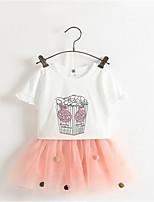 Girl's Green / White Clothing Set,Print Rayon Summer