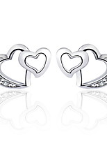 Antique 2016 Zircon Double Heart Earrings Real 925 Silver Women Crystal Stud Earrings Famous Brand Jewelry
