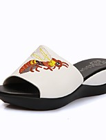 Women's Shoes Leather Wedge Heel Wedges / Peep Toe Sandals Office & Career / Dress / Casual Black / White