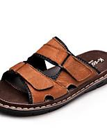Sapatos Masculinos-Sandálias-Preto / Marrom / Cinza-Couro-Ar-Livre / Escritório & Trabalho / Casual