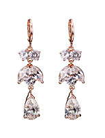 AAA Zircon 18k Gold/Silver Drop Earrings