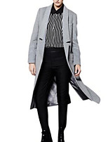 Women's Solid Gray Coat,Simple Long Sleeve Nylon