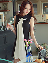 Women's Simple Color Block A Line Dress,Shirt Collar Above Knee Rayon / Polyester / Nylon / Spandex