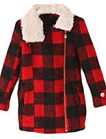 Girl's Black / Red Jacket & Coat,Cartoon / Check Polyester Winter / Fall
