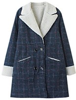 Women's Casual/Daily Street chic Pea Coats,Plaid Long Sleeve Winter Blue / Black Polyester
