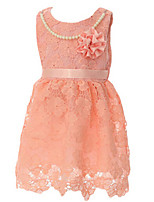 Girl's Pink / Red Dress,Lace Cotton Summer / Spring