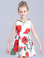 Girl's Casual/Daily Floral Dress,Cotton / Polyester Summer / Spring Purple / White