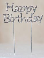 Cake Topper Non-personalized Monogram Chrome Birthday Rhinestone Silver