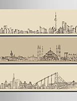Arquitectura Impresión de la lona Tres Paneles Listo para colgar,Vertical