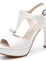 Women's Shoes Leatherette Cone Heel Peep Toe Sandals Wedding / Party & Evening / Dress Pink / White