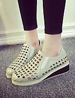 Women's Shoes Wedge Heel Comfort / Round Toe Loafers Dress / Casual White / Gray