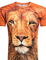 Men's Print Casual T-Shirt,Polyester Short Sleeve-Animal Print