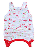 Chat / Chien Robe Rouge / Blanc / Vert Eté / Printemps/Automne Floral / Botanique Mode-Pething®, Dog Clothes / Dog Clothing
