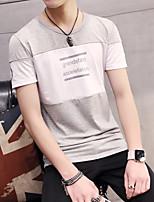 Men's Short Sleeve T-Shirt,Cotton Casual / Sport Letter