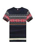 Print-Informeel-Heren-Katoen-T-shirt-Korte mouw Zwart / Blauw / Wit