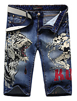 Men's Summer Fashion Slim Tiger and Girl Print Jeans Stretch Denim Shorts
