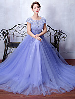 Formal Evening Dress A-line Scoop Sweep / Brush Train Lace / Tulle with Appliques / Beading / Lace / Sash / Ribbon / Sequins