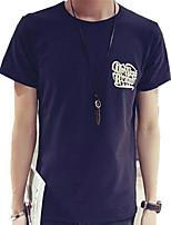 Tee-Shirt Décontracté Pour des hommes Manches Courtes A Motifs / Lettre Coton