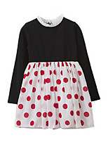 Girl's Dress,Cotton Spring / Fall Black / Red