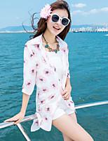 Women's Beach Boho / Street chic Summer Shirt,Floral Shirt Collar ½ Length Sleeve White Rayon / Polyester Thin