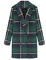 Women's Plaid Green Pea Coats,Plus Size Long Sleeve Polyester