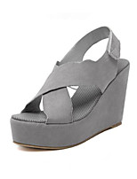 Women's Shoes Leatherette Wedge Heel Comfort Sandals Outdoor Black / Gray