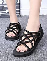 Chaussures Femme-Extérieure / Décontracté-Noir-Talon Plat-Confort / Bout Arrondi / Bout Ouvert-Sandales-Matières Personnalisées